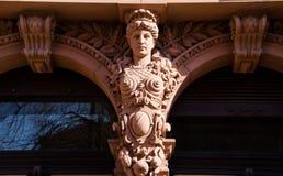 在大厦的女象柱在海得尔堡,德国 图库摄影