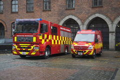 在大厦的消防车控制消防部门 哥本哈根丹麦 免版税图库摄影
