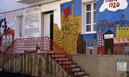 在大厦的街道画在南非。 免版税库存图片