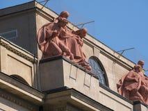 在大厦的被雕刻的细节在克拉科夫波兰 库存图片
