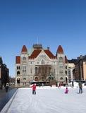 在大厦芬兰国家戏院前的滑冰场Rautatientori的在行军17日摆正2013年在赫尔辛基,芬兰 免版税库存图片