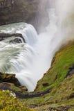 在大古佛斯瀑布瀑布的看法在冰岛 免版税库存图片