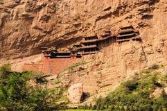 在大同,中国附近的垂悬的修道院寺庙 库存照片