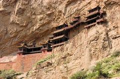 在大同,中国附近的垂悬的修道院寺庙 免版税库存图片