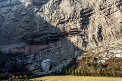 在大同,山西,中国附近的著名垂悬的修道院 库存图片