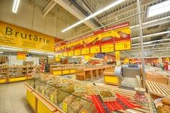 在大型超级市场欧尚盛大开幕式的照片在Galati,罗马尼亚 库存图片