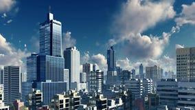 在大城市地平线的白天云彩 皇族释放例证
