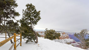 在大峡谷的冬天风暴以后 库存照片