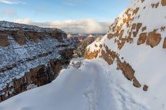 在大峡谷的南外缘的明亮的天使足迹 免版税库存照片