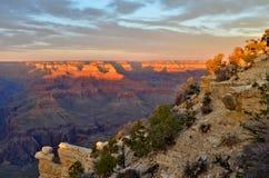 在大峡谷的日落 库存照片