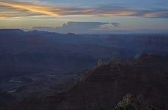 在大峡谷,亚利桑那,美国的日落 免版税库存图片