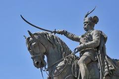 在大广场的雕象在萨格勒布,克罗地亚 库存照片