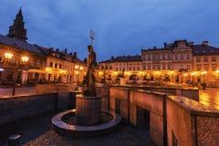 在大广场的Neptun喷泉在Bielsko-Biala 图库摄影