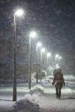 在大戈里察,克罗地亚街道上的降雪  免版税库存照片