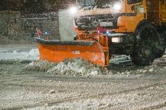 在大戈里察,克罗地亚街道上的降雪  免版税库存图片
