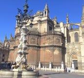 在大教堂前面的塞维利亚步行 库存照片