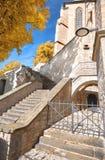 在大教堂和塞韦里教会一边的楼梯在埃福特,图林根州,德国 库存照片