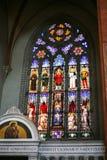 在大教堂圣Petronio的窗口在波隆纳 库存图片