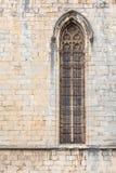 在大教堂的哥特式窗口在希罗纳 免版税图库摄影
