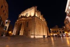 在大教堂的夜照片在梅诺卡 库存图片