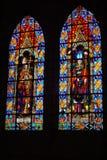 在大教堂的污迹玻璃窗在基多,厄瓜多尔 免版税库存图片