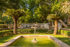 在大教堂附近的喷泉Palma de Mallorca的 库存图片