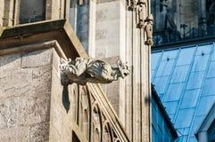 在大教堂顶部的Gargoyl 库存图片