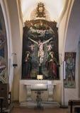 在大教堂di圣诞老人Caterina,加拉蒂纳,意大利里面的剧烈的INRI 免版税图库摄影