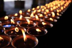 在大昭寺寺庙的黄油灯 免版税库存照片
