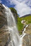 在大格洛克纳山的瀑布 免版税库存照片