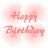 在大桃红色花的生日快乐 免版税图库摄影
