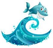 在大波浪上的一个鲨鱼 免版税图库摄影