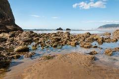 在大炮海滩俄勒冈的岩石海岸 库存照片