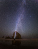 在大炮海滩的银河 免版税图库摄影