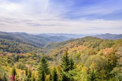 在大烟山国家公园的秋天颜色有一些消极空间的 免版税库存照片