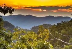 在大烟山的日落 免版税图库摄影