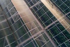 在大现代玻璃房子的空中寄生虫视图 库存照片
