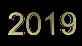 在大理石台式的新年快乐2019 3d翻译有迷离淡色抽象bokeh背景 向量例证
