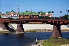 在大理石柱子的金属桥梁横跨河 库存照片