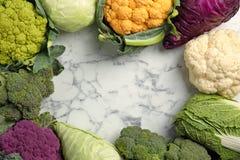 在大理石桌,顶视图上的不同的圆白菜 免版税库存照片