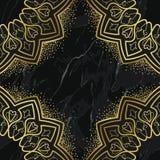 在大理石背景的阿拉伯金黄无缝的样式 库存例证