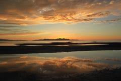 在大盐湖,盐湖城,犹他,美国的日落 图库摄影