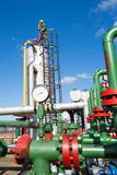 在大石油化学的炼油厂里面的油和煤气工作者 免版税库存图片
