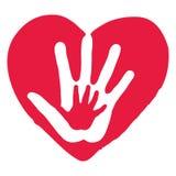 在大红色心脏里面的手 库存图片