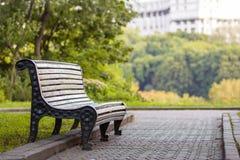 在大绿色树的阴影的老空的长木凳在明亮的夏日 和平、休息、沉寂和放松概念 库存图片