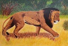 在大草原的狮子 向量例证