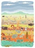 在大草原背景的难看的东西非洲动物 免版税图库摄影