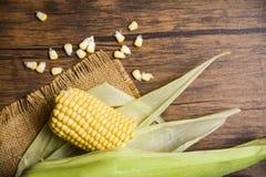 在大袋和甜玉米种子的新鲜的玉米在土气木桌背景 库存图片