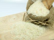 在大袋的米在choping宽广 免版税库存图片