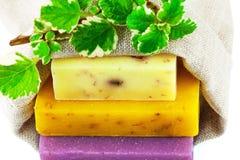 在大袋的肥皂有与叶子的分支的 免版税库存图片
